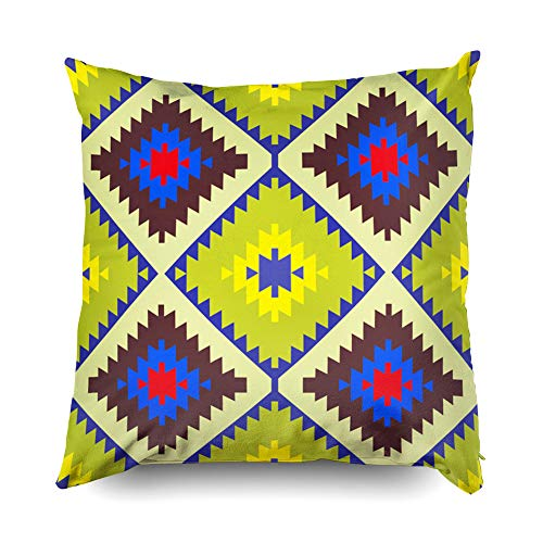Shorping Decorative Throw Pillow Cover, Home Décor Throw Pillow Cushion Cover Seamless Pattern Turkish Carpet Yellow Blue red Green Brown Patchwork Mosaic Oriental Kilim Rug with