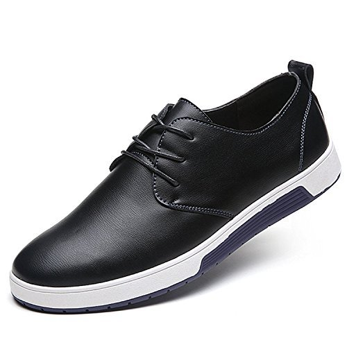 Zzhap Men's Casual Oxford Shoes Breathable Flat Fashion Sneakers 02Black US 8