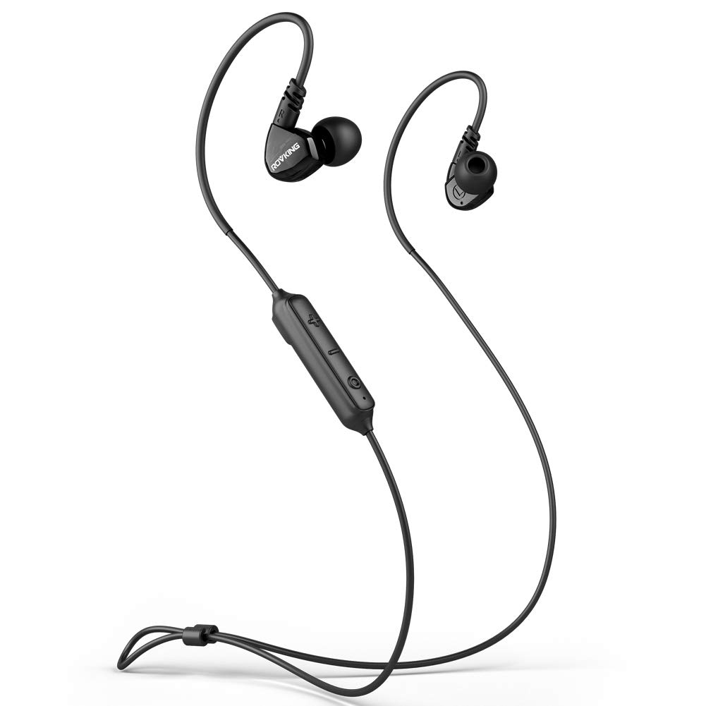 ROVKING Ear Buds Wireless Headphones 5.0 10H Play Bluetooth Headset with Mic, IPX5 Sweatproof Sport Earbuds for Running Gym Workout, Bass Stereo Over Ear in Ear Earphones for Cell Phones Laptop Black