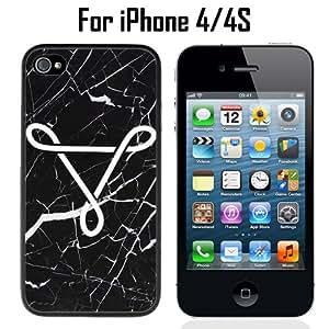 Geometric Triangle on Marble Custom Case/ Cover/Skin *NEW* Case for Apple iPhone 4/4S - Black - Plastic Case (Ships from CA) Custom Protective Case , Design Case-ATT Verizon T-mobile Sprint ,Friendly Packaging - Slim Case