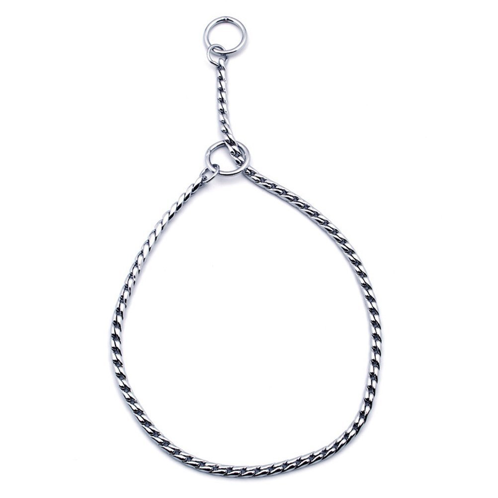 SGODA Silver Dog Chain Collar Choke Pet Training Snake Collar with Heavy Links, 24 in, 5 mm