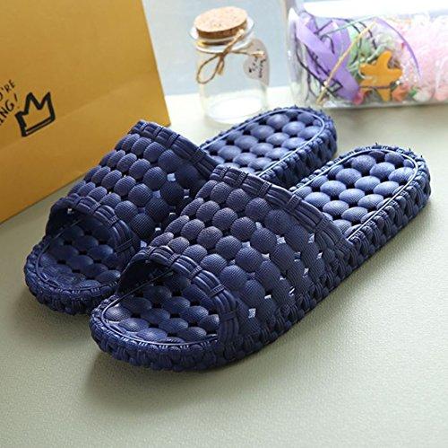 Massage POCARTZ Non Indoor Home Blue Sandal Household Dark Slip Shoes Unisex SPA Shower Slipper Bathroom 1fnPUW1