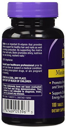 Natrol Biotin Maximum Strength Tablets, 10,000mcg, 100 Count (Pack of 2)