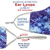 Washable Face Mask with Adjustable Ear Loops & Nose Wire - 3 Layers, 100% Cotton Inner Layer - Cloth Reusable Face Protection with Filter Pocket - Made in USA