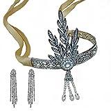 Santfe 1920's Great Gatsby Vintage Style Pearl Crown Tiara Charleston Bridal Headband Headpiece + Earring (Style1)