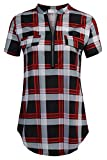 SimpleFun V Neck Blouse for Women,Short Sleeve Work Shirts Tops for Office Wear (Red Plaid,L)