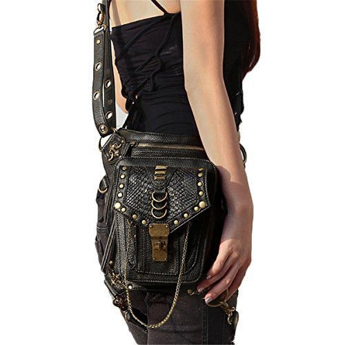 Qhome Steampunk Waist Bags Womens Casual Leg Bag Vintage Rivet Gothic Retro Rock Bag Cross Body Messenger Shoulder Bag Unisex