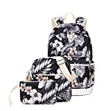 Teecho Cute School Backpack for Girl Stylish Laptop Backpack Set 3 Pieces for Women Black
