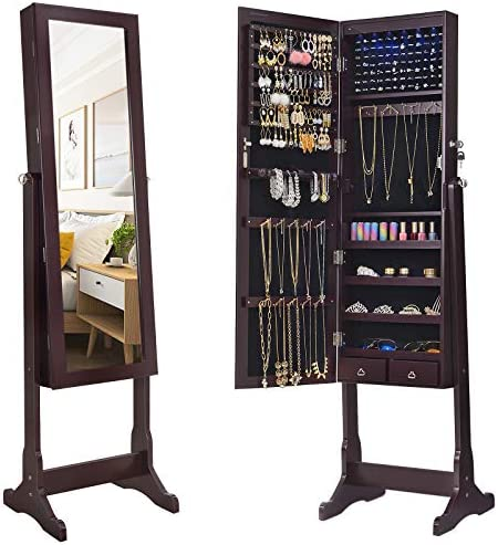picture of SONGMICS 6 LEDs Mirror Jewelry Cabinet Armoire, Lockable Free Standing