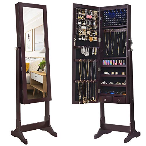 SONGMICS 6 LEDs Jewelry Cabinet Large Mirrored Jewelry Armoire Organizer with 2 Drawers Brown, Sturdy and Stylish UJJC94K