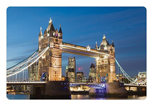 Lunarable London Pet Mat for Food and Water, Scenery of Landmark Tower Bridge at Twilight With Skyscrapers England UK Image, Rectangle Non-Slip Rubber Mat for Dogs and Cats, Blue and ()