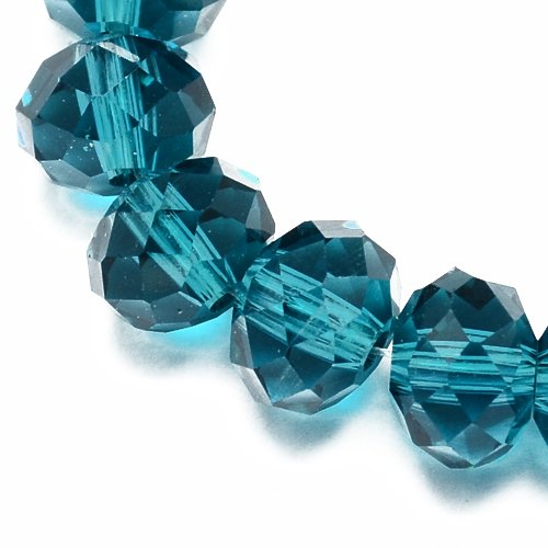 Strand 70+ Teal Czech Crystal Glass 6 x 8mm Faceted Rondelle Beads HA20365 (Charming Beads)