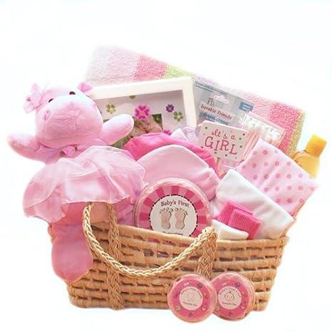 Amazon.com: Cesta regalo para un precioso nuevo bebé Girl ...