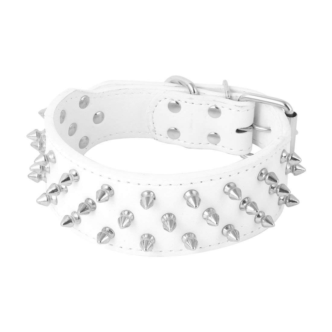 Faux Leather Walking Trainning Spiked Rivets Studded Metal Buckle Pet Dog Collar Neck Ornament