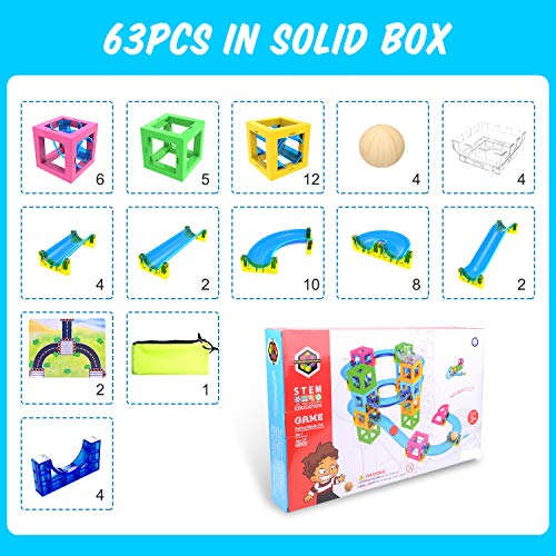 Magnetic Blocks with Marble Run Set Game - 63pcs Marble Maze Race Track Learning Toy for Kids, Construction Child Education Track Building Blocks (Storage Bag and Guidebook Include) by Gamenote (Image #6)