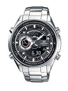 Casio Edifice - Reloj analógico - digital de caballero de cuarzo con correa de acero inoxidable plateada (luz, alarma, cronómetro) - sumergible a 100 metros
