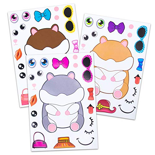 24 Make A Hamster Animal Stickers - Design Your Own Hamsters In Different Colors & Accessories - Great Addition To Gifts & Plush Toys - Fun Birthday Party Favors & Party Activity For Kids Ages 3+