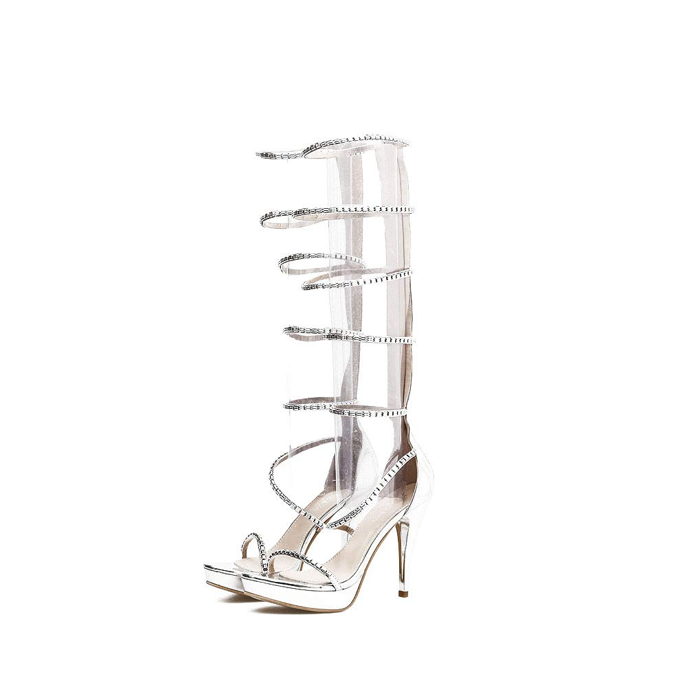 White Sandals High Heel, shoes Open Toe Lace Up Heeled Sandals Womens Strappy Cut Out High Heel Ladies Back Lace Up Peep Toe Sandals,White,36