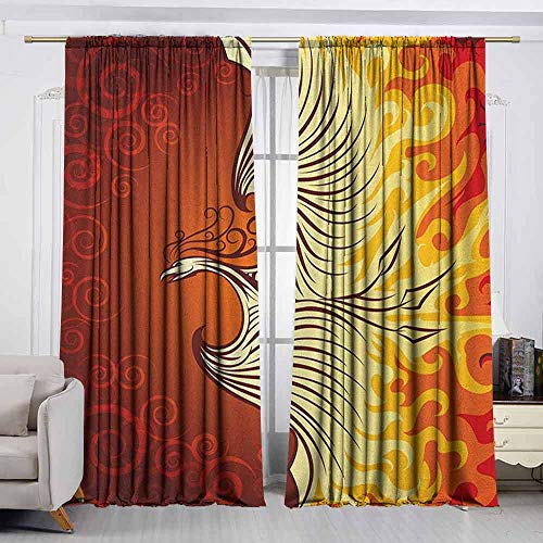 VIVIDX Outdoor Patio Curtains,Orange,Illustration of Flying Phoenix Bird in The Burning Flame Mythical Creature Print,Insulated with Curtains for Bedroom,W55x63L Inches Orange Yellow (Patio Curtains Phoenix Outdoor)