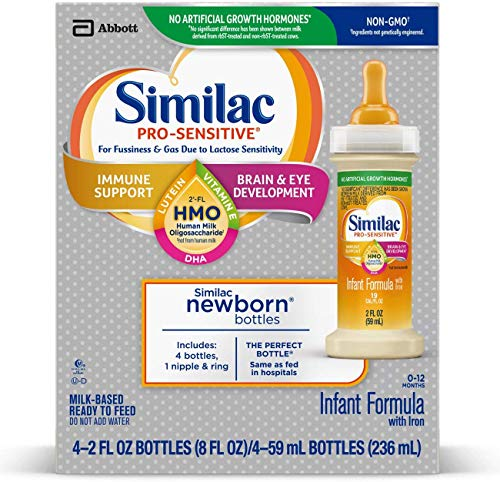 Similac Pro-Sensitive Infant Formula with 2'-FL Human Milk Oligosaccharide (HMO) for Immune Support, Ready to Drink Bottles, 2 fl oz (48 Count)