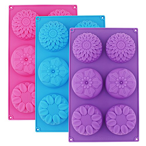 Genenic 6-Cavity Silicone Flower Shape Soap Cake Molds for Handmade DIY Candy Chocolate Cup cake by Genenic