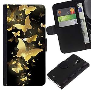 Billetera de Cuero Caso del tirón Titular de la tarjeta Carcasa Funda del zurriago para Samsung Galaxy S4 Mini i9190 MINI VERSION! / Business Style Gold Butterfly Bling Black Paint Money