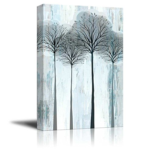 Tall Trees with Branches and Leaves Over Blue and Silver Textured Stripes