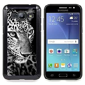Leopard Black White Curious Animal Caja protectora de pl??stico duro Dise?¡Àado King Case For Samsung Galaxy J2