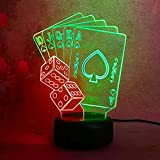Amroe Amazing 3D Night Lights Poker Shapes Dual Color Touch 7 Colors Change LED Lights for Home Decor Bedroom Children