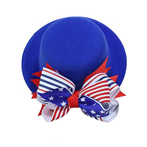 Song Flower Decor Hair Clip Feather Fascinator Burlesque Mini Top Hat for Women Lady (Blue Stars Stripes (Blue Stripe Wool Hat)