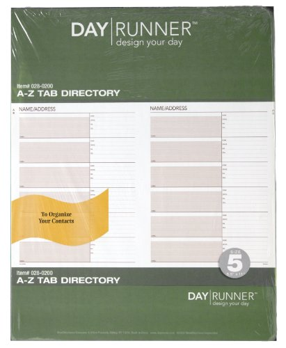 Day Runner Undated Planner Telephone and Address A-Z Tabs, 8.5 x 11 Inches -
