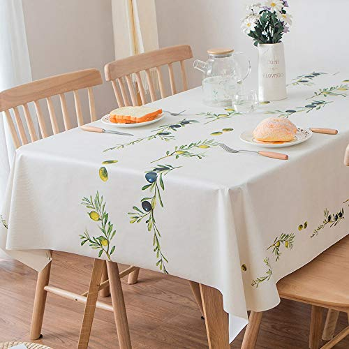 (JZY Heavy Duty Vinyl Table Cloth for Kitchen Dining Table Wipeable PVC Tablecloth for Rectangle Table (54