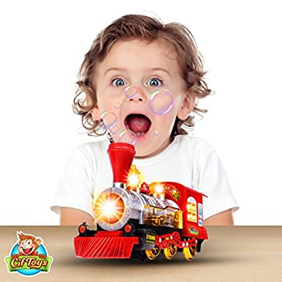 CifToys Bubble Blowing Toy Train - Battery Powered Steam Bubbles Locomotive Engine Car- Colorful Lights & Fun Sounds - Constant Motion & Automatic Change of Direction – 3 and Up: Toys & Games