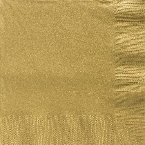 Big Party Pack 2-Ply Dinner Napkins | Gold | Pack of 50 | Party Supply ()