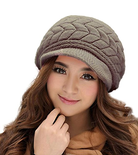 HINDAWI Winter Hats for Women Outdoor Warm Knit Snow Ski Crochet Skull Cap with Visor Brown