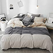 mixinni Solid Color 3 Pieces Duvet Cover Set Green 100% Natural Washed Cotton Queen/Full Size 1 Duvet Cover 2