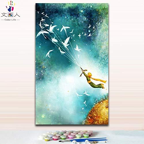 KYKDY DIY Farbgebung Bilder nach Zahlen mit Farben Paris Straße Blick auf die Stadtbild Zeichnung Malen nach Zahlen gerahmt, 4017,80x100 kein Rahmen 30x50 no frame 2403 princekin star2