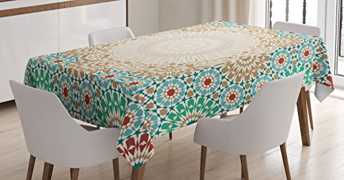 (Ambesonne Moroccan Tablecloth, Ottoman Mosaic Art Pattern with Oriental Floral Forms Antique Scroll Ceramic Boho Print, Dining Room Kitchen Rectangular Table Cover, 60 W X 84 L Inches, Multicolor)