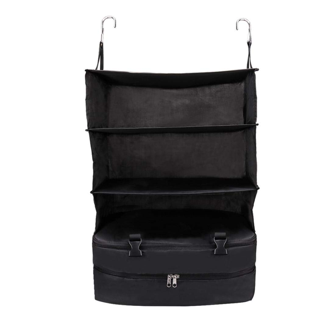 SUJING Portable Luggage System, 3 Layer Hanging Travel Shelves & Packing Cube Organizer Suitcase Organizer