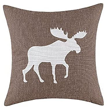 Vintage Holiday Moose Color Shadow Print Christmas Gifts Throw Pillow Case Personalized Cushion Cover NEW Home Office Decorative Square 18 X 18 Inches Christmas Gift (Coffee Color)