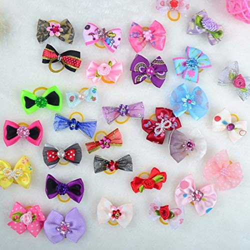 Dog Accessories - Dog Bow Hair Little Flower Bows Gift Handmade Pet Grooming Product - Pastel Stand Collars Hearts Yellow Goldendoodle Large Rubber Medium Flowers Pony Small Clips Purple Hea