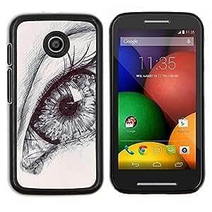 Caucho caso de Shell duro de la cubierta de accesorios de protección BY RAYDREAMMM - Motorola Moto E - dibujo ojo lápiz arte del bosquejo alumno profunda