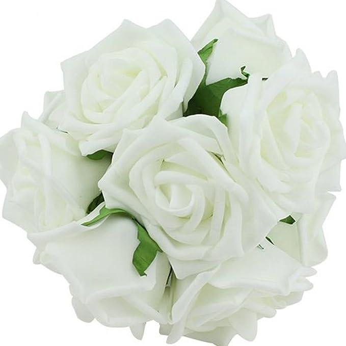 Amazon.com: Leegoal 20pcs Artificial Rose Flowers Bridal Wedding ...