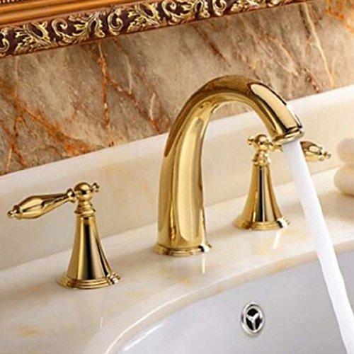 Senlesen Gold Finish Widespread Two Handles Bathroom Sink Faucet