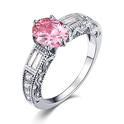 Caperci Sterling Silver 2.0CT Vintage Estate Created Pink Sapphire Engagement Ring Size 5