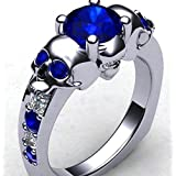 Skull Fashion 925 Silver Blue Sapphire Wedding Engagement Ring Party Size 6-10#by pimchanok shop (7)