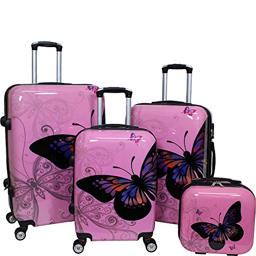World Traveler 4-Piece Hardside Upright Spinner Luggage Set, Light Pink by World Traveler
