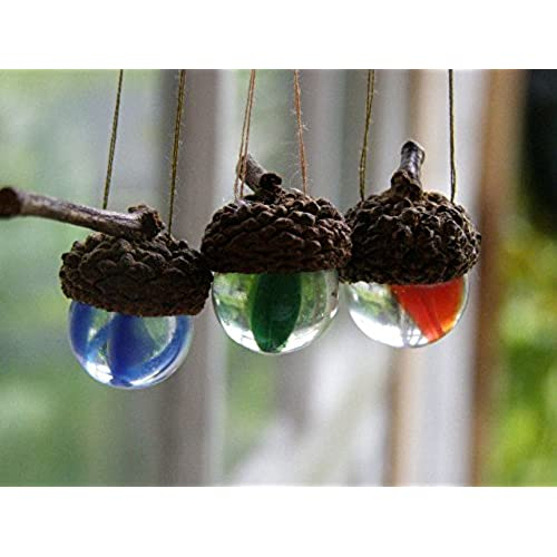 mountain woman products three natural acorn vintage marble suncatcher wedding christmas ornament in the german tradition