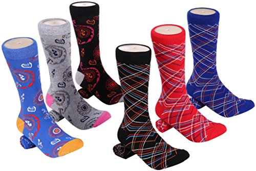 Marino Mens Dress Socks - Fun Colorful Socks for Men - Cotton Funky Socks - 6 Pack - Chic Collection - 13-15 ()