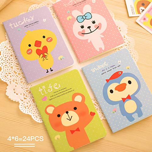 - DEYACE Pack of 24 (120mmx85mm) 4-Styles Pocket Notebook Set Cute Animal Pocket Pal Super Mini Journals Portable Steno Note Books Mini Notebooks, Perfect for Journaling, Diary, Note Taking, Soft Cover